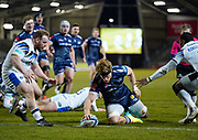 Sale Sharks No.8 Dan Du Preez drives over the Bath line to score during a Gallagher Premiership Round 9 Rugby Union match, Friday, Feb 12, 2021, in Leicester, United Kingdom. (Steve Flynn/Image of Sport)
