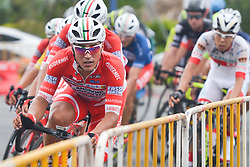 September 24, 2017 - Zhuhai, Guangdong, China - Matteo Malucelli from Androni Sidermec Bottecchia team leads the peloton during the fifth and final stage of the 2017 Tour of China 2, the 91.2km Zhuhai Hengqin Circuit Race. .On Sunday, 24 September 2017, in Hengqin district, Zhuhai City, Guangdong Province, China. (Credit Image: © Artur Widak/NurPhoto via ZUMA Press)