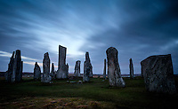 LEWIS AND HARRIS, SCOTLAND - CIRCA APRIL 2016: Dusk time over the famous Callanish Stones in Outer Islands of Lewis and Harris in Scotland.