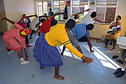 Aerobics students, who are all HIV Positive, often make a long journey to the class in Holtse, Lesotho where they do an all-out one-hour workout with aerobics instructor Seraanye Selialia.