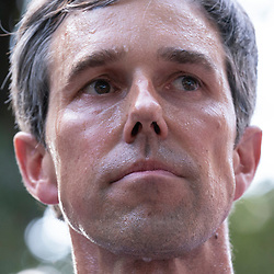 Almost a thousand Texas Democrats, including former congressman and presidential candidate BETO O'ROURKE, his face dripping with sweat, hold a rally at the State Capitol supporting voting rights bills stalled in Congress and decrying Republican efforts to thwart voter registration and access to the polls.