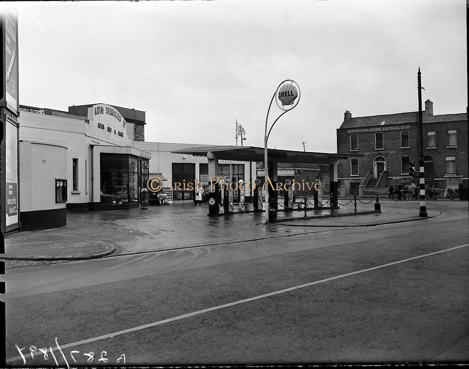 Exterior of Auto Services Garage, Harcourt Street, Dublin..1960..26.01.1960..01.26.1960..26th January 1960...Pictured for Irish Shell Ltd, was the Exterior of Auto Services Garage, Harcourt Street, Dublin. The garage had recently been refurbished and was operated under licence to Irish Shell Ltd. Harcourt street, Irish, photos, Auto, Service, open Day and Night, Shell, petrol, filling, station, HARCOURT TRAIN STATION,