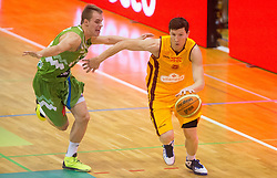Klemen Prepelic of Slovenia vs Vlado Ilievski of Macedonia  during friendly match between National teams of Slovenia and Republic of Macedonia for Eurobasket 2013 on July 28, 2013 in Litija, Slovenia. Slovenia defeated Macedonia 63-54. (Photo by Vid Ponikvar / Sportida.com)