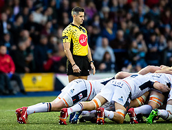 Referee Frank Murphy<br /> <br /> Photographer Simon King/Replay Images<br /> <br /> Guinness PRO14 Round 2 - Cardiff Blues v Edinburgh - Saturday 5th October 2019 -Cardiff Arms Park - Cardiff<br /> <br /> World Copyright © Replay Images . All rights reserved. info@replayimages.co.uk - http://replayimages.co.uk