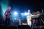 COLUMBIA, MD - July 22nd, 2012 - Al Doyle, Jim Orso and Alexis Taylor of Hot Chip perform at Merriweather Post Pavilion in Columbia, MD. The band released their fifth studio album, In Our Heads, in April.  (Photo by Kyle Gustafson/For The Washington Post)