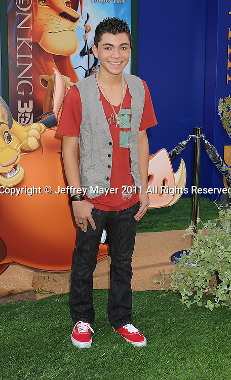 """HOLLYWOOD, CA - AUGUST 27: Adam Irigoyen arrives at """"The Lion King"""" Los Angeles 3D Premiere at the El Capitan Theatre on August 27, 2011 in Hollywood, California."""