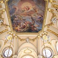Europe, Spain, Madrid. Palacio Real de Madrid - ceiling fresco of main staircase.