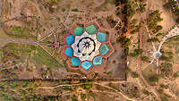 Aerial view above of Lotus Temple, Delhi, India