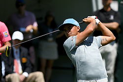 May 2, 2019 - Charlotte, NC, U.S. - CHARLOTTE, NC - MAY 02:  Rickie Fowler plays his shot from the first tee in round one of the Wells Fargo Championship on March 02, 2019 at Quail Hollow Club in Charlotte,NC. (Photo by Dannie Walls/Icon Sportswire) (Credit Image: © Dannie Walls/Icon SMI via ZUMA Press)