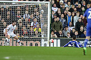 Oscar of Chelsea scores his sides 1st goal. The Emirates FA cup, 4th round match, MK Dons v Chelsea at the Stadium MK in Milton Keynes on Sunday 31st January 2016.<br /> pic by John Patrick Fletcher, Andrew Orchard sports photography.