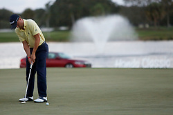 February 25, 2018 - Palm Beach Gardens, Florida, U.S. - Justin Thomas hits the tournament-winning putt on the first playoff round on the 18th hole during the final round of the 2018 Honda Classic at PGA National Resort and Spa in Palm Beach Gardens, Fla., on Sunday, February 25, 2018. (Credit Image: © Andres Leiva/The Palm Beach Post via ZUMA Wire)