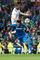 Real Madrid Karim Benzema Getafe Damian Suarez during La Liga match between Real Madrid and Getafe CF  at Santiago Bernabeu Stadium in Madrid , Spain. March 03, 2018. (ALTERPHOTOS/Borja B.Hojas)