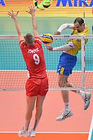Like of Brazil, Nikola Jovovic off Serbia.<br /> Torino 29-09-2018 Pala Alpitour <br /> FIVB Volleyball Men's World Championship <br /> Pallavolo Campionati del Mondo Uomini <br /> Semifinal<br /> Brasile - Serbia / Brazil - Serbia<br /> Foto Antonietta Baldassarre / Insidefoto