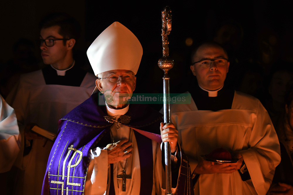 November 1, 2018 - Krakow, Poland - Archbishop of Krakow Marek Jedraszewski during All Saints' Day celebration in Rakowicki Cemetery in Krakow..On the 1st November, All Saints Day, many people pay respects to dead family members, clean their family tombs, and many flowers and candles are placed on top of tombs. The 1st of November in Poland is a day off from work, and many people travel to visit the graves of their loved ones. .On Thursday, November 1, 2018, in Krakow, Poland. (Credit Image: © Artur Widak/NurPhoto via ZUMA Press)