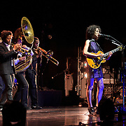 BETHESDA, MD - September 30th, 2012 - St. Vincent (right) performs at the Strathmore Music Hall as part of her joint tour with David Byrne. The pair released a collaborative album, Love This Giant, earlier this month. (Photo by Kyle Gustafson/For The Washington Post)