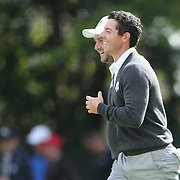 Ryder Cup 2016.  Rory McIlory of Europe is congratulated by team mate Andy Sullivan after his approach shot on the sixth went straight into the hole during practice day at the Hazeltine National Golf Club on September 29, 2016 in Chaska, Minnesota.  (Photo by Tim Clayton/Corbis via Getty Images)