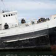 The wreck of the Saint Christopher (HMS Justice) aground in the harbor of Ushuaia, Argentina. The Sain Christopher is an American-built rescue tug that served in the British Royal Navy in World War II. After the war she was decommissioned from the Royal Nay and sold for salvage operations in the Beagle Channel. After suffering engine problems in 1954, she was beached in 1957 in Ushuaia's harbor where she now serves as monument to the shipwrecks of the region.