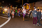 09 NOVEMBER 2013 - PHOENIX, AZ:    People march in the parade at the 7th annual Phoenix Annual Parade of the Arts. The arts walk/parade started in 2006 and now draws hundreds of people in downtown Phoenix.    PHOTO BY JACK KURTZ