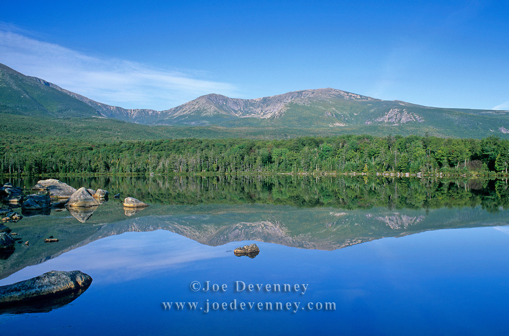 View of Mount Katahdin from Sandy Stream Pond. Baxter State Park. Maine