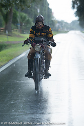 Shinya Kimura riding his Team 80 1915 Indian Twin through the rain during Stage 1 of the Motorcycle Cannonball Cross-Country Endurance Run, which on this day ran from Daytona Beach to Lake City, FL., USA. Friday, September 5, 2014.  Photography ©2014 Michael Lichter.
