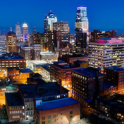 Kansas City, MO skyline at dusk from above Quality Hill residential area at approximately 8th and Jefferson.