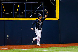 May 11, 2017 - St. Petersburg, Florida, U.S. - WILL VRAGOVIC   |   Times.Tampa Bay Rays designated hitter Corey Dickerson (10) shows some excitement after robbing Kansas City Royals first baseman Eric Hosmer (35) of a home run in the first inning of the game between the Tampa Bay Rays and the Kansas City Royals at Tropicana Field in St. Petersburg, Fla. on Thursday, May 11, 2017. (Credit Image: © Will Vragovic/Tampa Bay Times via ZUMA Wire)