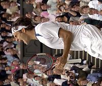 Tennis<br /> Wimbledon 2005<br /> Foto: Colorsport/Digitalsport<br /> NORWAY ONLY<br /> <br /> Roger Federer (Sui) celebrates winning match point. Mens singles Final. Roddick v Federer. 3/7/2005. Centre Court. Wimbledon Tennis Championships 2005.