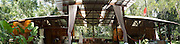 Panoramic view of an open-air tourist house near Manzanillo, Limon, Costa Rica. No property release.