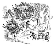 (A wartime salvage drive carts trundling along a country lane with the cart from Lesser Fumbling picking up the droppings from the Rumbleton Magna cart and the Little Frilford wheelbarrow picking up the droppings from the Lesser Fumbling cart)