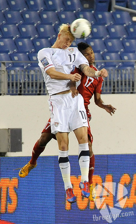 NASHVILLE, TN - MARCH 22:  Brek Shea #11 of the USA and Dayron Blanco #17 of Cuba jump for the ball in a Men's Olympic Qualifying match at LP Field on March 22, 2012 in Nashville, Tennessee.  (Photo by Frederick Breedon/Getty Images) *** Local Caption *** Brek Shea; Dayron Blanco