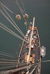"United States, Washington, San Juan Islands, deck of historic schooner ""Adventuress"" viewed from top of mast"