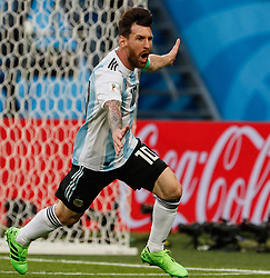 June 26, 2018 - Saint Petersburg, Russia - Lionel Messi of Argentina national team celebrates his goal during the 2018 FIFA World Cup Russia group D match between Nigeria and Argentina on June 26, 2018 at Saint Petersburg Stadium in Saint Petersburg, Russia. (Credit Image: © Mike Kireev/NurPhoto via ZUMA Press)