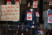 Tailors closed during the coronavirus pandemic on the 2nd May 2020 in London, United Kingdom.