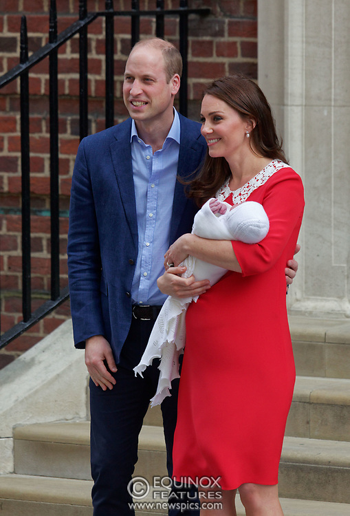 London, United Kingdom - 23 April 2018<br /> Prince William and Kate Middleton, The Duke and Duchess of Cambridge show off their new baby as they leave the Lindo Wing of St. Mary's Hospital, Paddington, London, England, UK, Europe.<br /> www.newspics.com/#!/contact<br /> (photo by: EQUINOXFEATURES.COM)<br /> Picture Data:<br /> Photographer: Equinox Features<br /> Copyright: ©2018 Equinox Licensing Ltd. +448700 780000<br /> Contact: Equinox Features<br /> Date Taken: 20180423<br /> Time Taken: 17520596