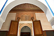 Berber arabesque doors of  the Petite Court, Bahia Palace, Marrakesh, Morroco .<br /> <br /> Visit our MOROCCO HISTORIC PLAXES PHOTO COLLECTIONS for more   photos  to download or buy as prints https://funkystock.photoshelter.com/gallery-collection/Morocco-Pictures-Photos-and-Images/C0000ds6t1_cvhPo<br /> .<br /> <br /> Visit our ISLAMIC HISTORICAL PLACES PHOTO COLLECTIONS for more photos to download or buy as wall art prints https://funkystock.photoshelter.com/gallery-collection/Islam-Islamic-Historic-Places-Architecture-Pictures-Images-of/C0000n7SGOHt9XWI