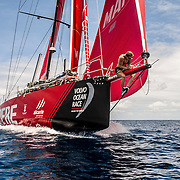Leg 6 to Auckland, day 13 on board MAPFRE, Sophie Ciszek fixing a line in the bow. 19 February, 2018.