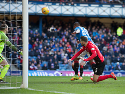 Rangers Alfredo Morelos misses during the Ladbrokes Scottish Premiership match at Ibrox Stadium, Glasgow.