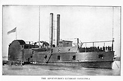 """USS Conestoga was originally a civilian side-wheel towboat built at Brownsville, Pennsylvania, in 1859. She was acquired by the U.S. Army in June 1861 and converted to a 572-ton """"timberclad"""" river gunboat for use by the Western Gunboat Flotilla, with officers provided by the navy. from the book ' The Civil war through the camera ' hundreds of vivid photographs actually taken in Civil war times, sixteen reproductions in color of famous war paintings. The new text history by Henry W. Elson. A. complete illustrated history of the Civil war"""