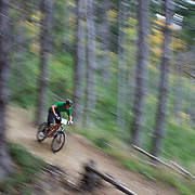 Tim Holtrop in action as mountain bike racers tackle the Ben Lomond Forest course high above Queenstown during the Outside Sports Super D Enduro event in Queenstown, Central Otago, at the Weekend. The 6 hour non stop team and individual races attracted 86 competitors and included Skyline Gondola access.  The Open Female category was won by Hanna Thorne from Dunedin while Kurt Lancaster from Nelson won the Open Male Category. The event was part of the inaugural Queenstown Bike Festival, taking place from 16th-25th April. The event hopes to highlight Queenstown's growing profile as one of the three leading biking centres in the world. Queenstown, Central Otago, New Zealand. 16th April 2011. Photo Tim Clayton..