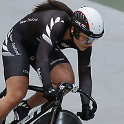 Natasha Hansen, New Zealand, in action in the Women Team Sprint at the 2012 Oceania WHK Track Cycling Championships, Invercargill, New Zealand. 21st November  2011. Photo Tim Clayton