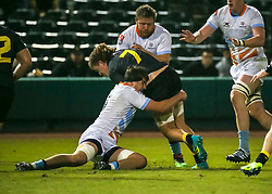 January 11, 2019 - Sugar Land, TX, U.S. - SUGAR LAND, TX - JANUARY 11:  Houston SaberCats flanker Cecil Garber (7) gets tackled during the pre-season exhibition rugby match between the Austin Elite and Houston SaberCats on January 11, 2019 at Constellation Field in Sugar Land, Texas.  (Photo by Leslie Plaza Johnson/Icon Sportswire) (Credit Image: © Leslie Plaza Johnson/Icon SMI via ZUMA Press)