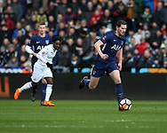 Jan Vertonghen of Tottenham Hotspur in action. The Emirates FA Cup, quarter-final match, Swansea city v Tottenham Hotspur at the Liberty Stadium in Swansea, South Wales on Saturday 17th March 2018.<br /> pic by  Andrew Orchard, Andrew Orchard sports photography.