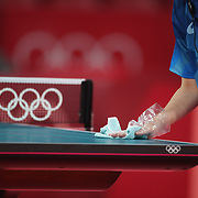 TOKYO, JAPAN - JULY 24: Table tennis tables are sanitised between matches during the Olympic table tennis competition in the Tokyo Metropolitan Gymnasium at the Tokyo 2020 Summer Olympic Games  on July 24, 2021 in Tokyo, Japan. (Photo by Tim Clayton/Corbis via Getty Images)