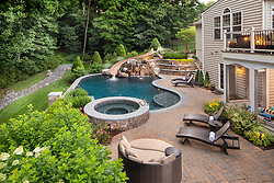 15941 Frostleaf landscaping with pool, spa, and water slide