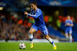Chelsea Midfielder Eden Hazard (BEL) in action during the second half of the match - Photo mandatory by-line: Rogan Thomson/JMP - Tel: 07966 386802 - 18/09/2013 - SPORT - FOOTBALL - Stamford Bridge, London - Chelsea v FC Basel - UEFA Champions League Group E