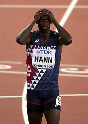 France's Mamadou Hann after the Men's 400m hurdles heats during day four of the 2017 IAAF World Championships at the London Stadium. PRESS ASSOCIATION Photo. Picture date: Monday August 7, 2017. See PA story ATHLETICS World. Photo credit should read: John Walton/PA Wire. RESTRICTIONS: Editorial use only. No transmission of sound or moving images and no video simulation