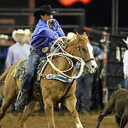 Freddy Herrera of Moore Haven, Florida ropes a calf during the 129th performance of the PRCA Silver Spurs Rodeo at the Silver Spurs Arena   on Friday, June 1, 2012 in Kissimmee, Florida. (AP Photo/Alex Menendez) Silver Spurs rodeo action in Kissimee, Florida. PRCA rodeo event in Florida. The 129th annual running of the cowboy event.