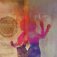 Yin and Yang Moon and sun women. Sacred mandala mudra.