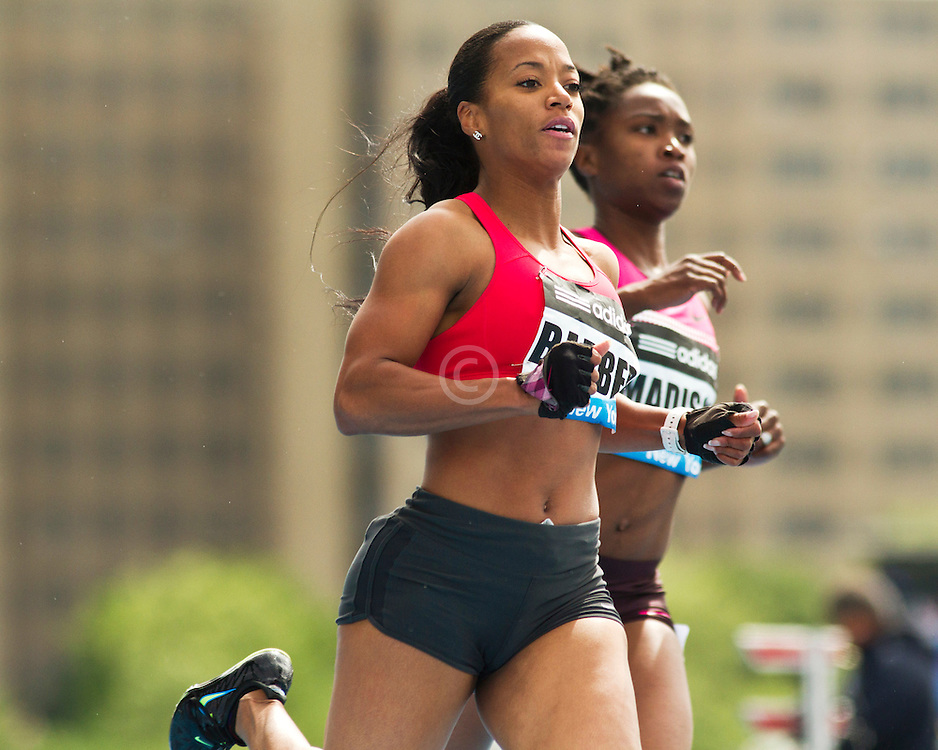 adidas Grand Prix professional track & field meet: womens 100 meters, Mikele BARBER, USA