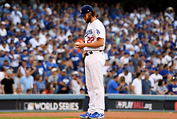 October 24, 2017 - Los Angeles, California, U.S. - Los Angeles Dodgers starting pitcher Clayton Kershaw in the first inning of game one of a World Series baseball game against the Houston Astros at Dodger Stadium on Tuesday, Oct. 24, 2017 in Los Angeles. (Photo by Keith Birmingham, Pasadena Star-News/SCNG) (Credit Image: © San Gabriel Valley Tribune via ZUMA Wire)